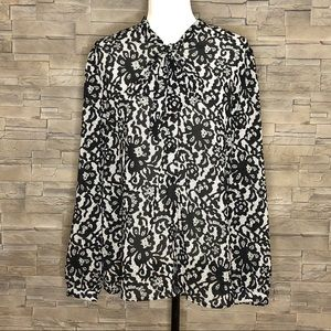 Nygard Black Label black and white floral blouse